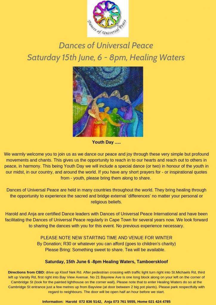 Dances of Universal Peace Saturday 15th June, 6 - 8 pm, Healing Waters (1)
